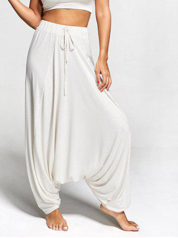 Fashion Drawstring Drop Bottom Harem Pants PEARL BEIGE XL