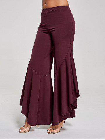Flounce Panel High Waist Palazzo Pants Rouge vineux  XL