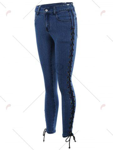 Trendy Lace Up Side Slim Fitted Pencil Jeans - M DEEP BLUE Mobile