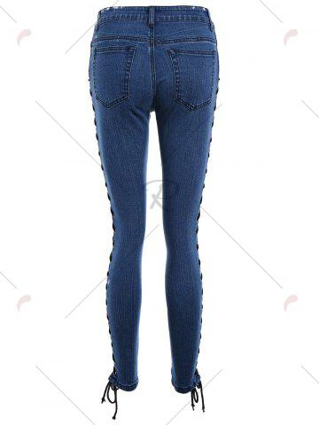 Shops Lace Up Side Slim Fitted Pencil Jeans - M DEEP BLUE Mobile