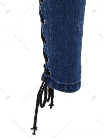 Discount Lace Up Side Slim Fitted Pencil Jeans - M DEEP BLUE Mobile