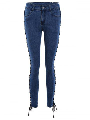 Fancy Lace Up Side Slim Fitted Pencil Jeans - M DEEP BLUE Mobile
