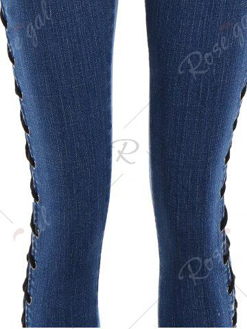 Chic Lace Up Side Slim Fitted Pencil Jeans - M DEEP BLUE Mobile