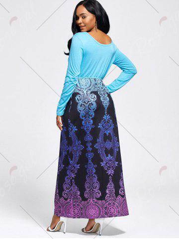 Online Baroque Printed Long Sleeve Maxi Dress - M LIGHT BLUE Mobile