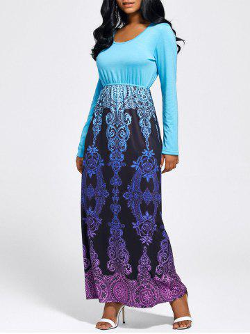 Fancy Baroque Printed Long Sleeve Maxi Dress - M LIGHT BLUE Mobile