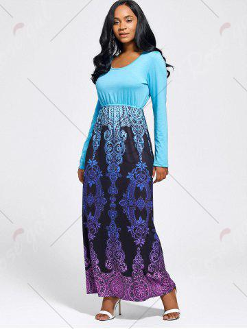 Store Baroque Printed Long Sleeve Maxi Dress - M LIGHT BLUE Mobile