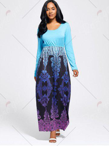 Shops Baroque Printed Long Sleeve Maxi Dress - M LIGHT BLUE Mobile