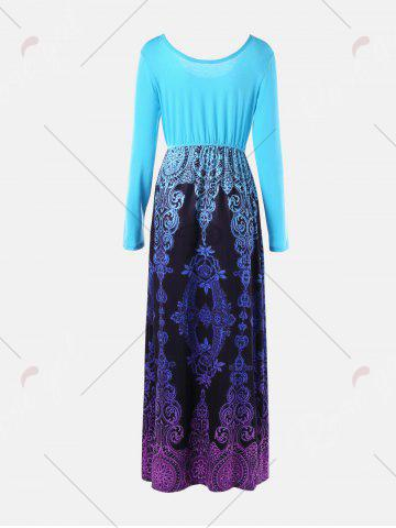 Outfits Baroque Printed Long Sleeve Maxi Dress - M LIGHT BLUE Mobile