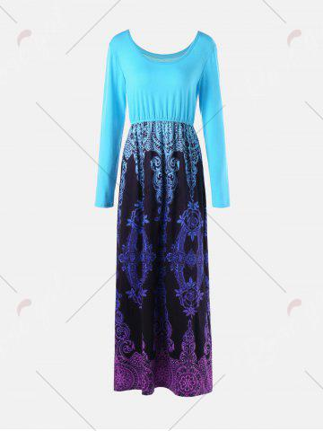 Latest Baroque Printed Long Sleeve Maxi Dress - M LIGHT BLUE Mobile