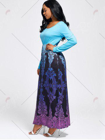 Outfit Baroque Printed Long Sleeve Maxi Dress - M LIGHT BLUE Mobile