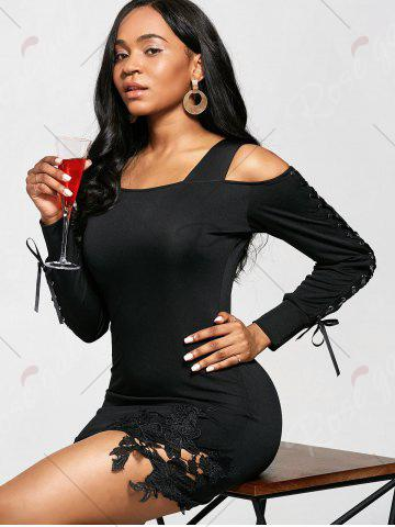 Outfits Cold Shoulder Long Sleeve Bodycon Dress - M BLACK Mobile