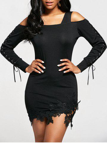 Cold Shoulder Long Sleeve Bodycon Dress - Black - 2xl
