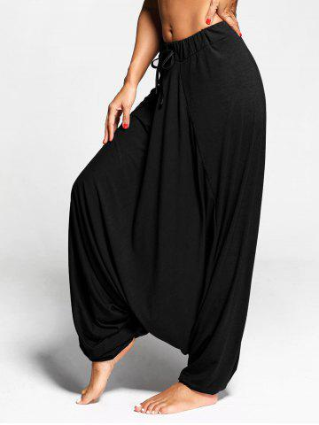 Shops Drawstring Drop Bottom Harem Pants BLACK L