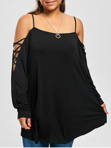 Shops Plus Size  Cold Shoulder Criss Cross Long T-shirt - 5XL BLACK Mobile