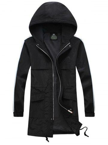 New Drawstring Hooded Side Stripe Zip Up Polyester Coat