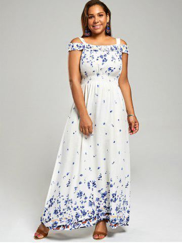 b941e35472cc2 Cold Shoulder Plus Size Long Floral Dress