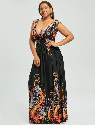 7512ca37ee3a1 Paisley Plunge Maxi Evening Dress for Plus Size