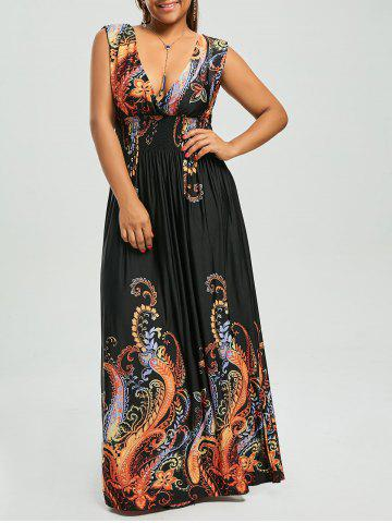 2019 Tie Front Plus Size Printed Maxi Dress | Rosegal.com