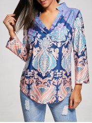 V Neck Boho Print T-Shirt - COLORMIX