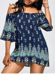 Paisley Print Cold Shoulder Tunic Top - PURPLISH BLUE
