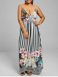 Floral Stripe Chiffon Plus Size Maxi Dress