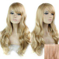 Long Side Bang Wavy Human Hair Wig - BROWN WITH BLONDE