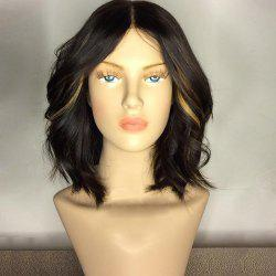 Center Part Medium Shaggy Wavy Synthetic Wig - COLORMIX