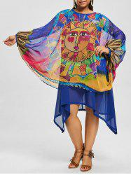 Chiffon Asymmetric Printed Plus Size Dress