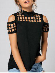 Back Slit Cold Shoulder Cut Out Top - BLACK XL