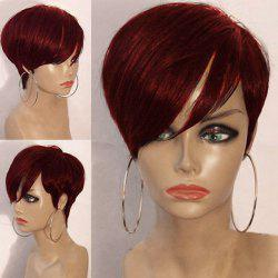 Short Inclined Bang Layered Straight Synthetic Wig - WINE RED