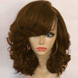 Medium Side Parting Shaggy Curly Synthetic Wig