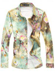 Floral Printed Glittering Embellish Long Sleeve Shirt