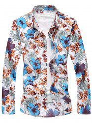 Plus Size Long Sleeve Flowers and Leaves Print Shirt - BLUE 6XL
