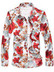 Plus Size Long Sleeve Flowers and Leaves Print Shirt - RED 5XL
