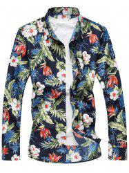 Plus Size Long Sleeve 3D Flowers and Leaves Print Shirt