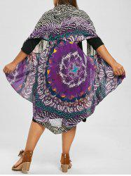 Printed Top and Knee Length Plus Size Dress - PURPLE 2XL