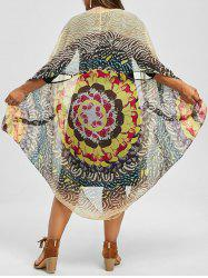 Printed Top and Knee Length Plus Size Dress - YELLOW 3XL