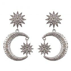 Rhinestone Moon Sun Drop Earrings