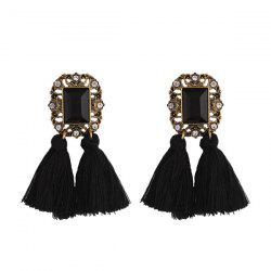 Rhinestone Vintage Engraved Tassel Earrings