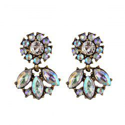 Artificial Crystal Floral Dangle Earrings