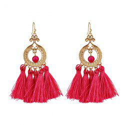 Vintage Beads Circle Tassel Drop Earrings