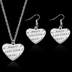 Engraved Love Heart Necklace with Earring Set