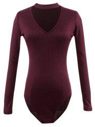 Cut Out Long Sleeve Fitted Choker Bodysuit - BURGUNDY