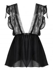 Lace Insert Plunge Flounce Babydoll