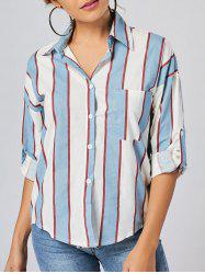 Button Up Pocket Striped Shirt
