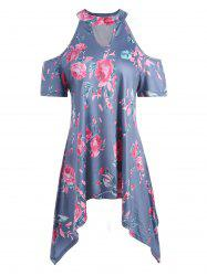 Rose Print Cold Shoulder Asymmetrical Tunic Top