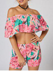 Floral Off Shoulder Crop Top and Shorts