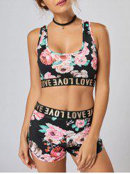 Crop Floral Racerback Track Two Piece Set