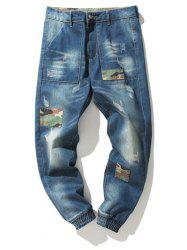 Zipper Fly Camouflage Panel Beem Feet Ripped Jeans
