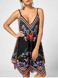 Floral Handkerchief Slip Dress - BLACK XL